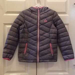 Girls Gerry Down Jacket L 14/16 Grey & Pink NWT